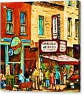 Montreal Streetscene Artist Carole Spandau Paints Schwartzs Main Street Hustle Bustle Acrylic Print