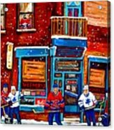 Montreal Wilensky Deli By Carole Spandau Montreal Streetscene And Hockey Artist Acrylic Print