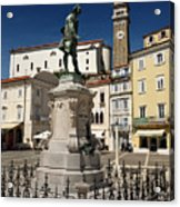 Monument And Statue Of Giuseppe Tartini At Tartini Square Piran  Acrylic Print