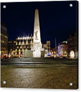 Monument On The Dam In Amsterdam Netherlands At Night Acrylic Print