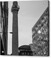 Monument To The Great Fire Of London Bw Acrylic Print