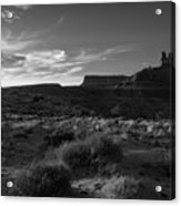 Monument Valley View - Black And White Acrylic Print