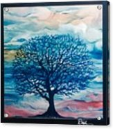 Moody Clouds with Blue Tree Acrylic Print
