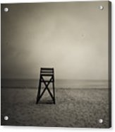 Moody Lifeguard Stand On Beach. Acrylic Print