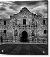 Moody Morning At The Alamo Bw Acrylic Print
