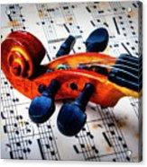 Moody Violin Scroll On Sheet Music Acrylic Print