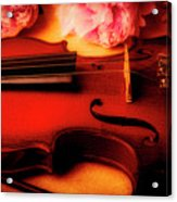 Moody Violin With Peonies Acrylic Print