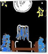 Moon And Beach Watcher On Martha's Vineyard Acrylic Print