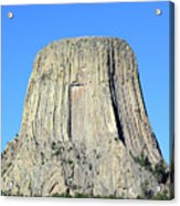 Moon And Devil's Tower National Monument, Wyoming Acrylic Print