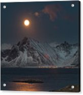 Moon And Mountains In Lofoten Acrylic Print