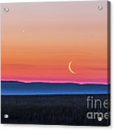 Moon And Venus Rising Over The Flat Acrylic Print