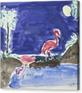 Moon Evening.flamingo. Water Color 1995 Acrylic Print
