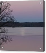 Moon In A Colorful Sky Over Kentucky Lake And Lbl A National Recreation Area Acrylic Print