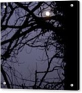 Moon In Inky Blue Sky Acrylic Print