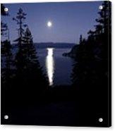 Moon On Lake Tahoe Acrylic Print
