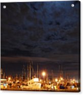 Moon Over Fishermans Terminal Acrylic Print