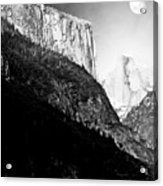 Moon Over Half Dome . Black And White Acrylic Print