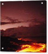 Moon Over Lava At Dawn Acrylic Print