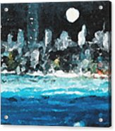 Moon Over Miami Acrylic Print by Jorge Delara
