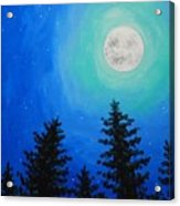 Moon Over Pines Acrylic Print
