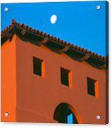 Moon Over Red Adobe Horizontal Acrylic Print