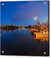 Moon Over Sitka Marina Acrylic Print by Mike  Dawson
