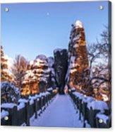 Moon Over Snowy Bastei Bridge Acrylic Print
