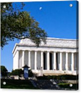 Moon Over The Lincoln Memorial  Acrylic Print