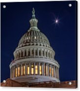 Moon Over The Washington Capitol Building Acrylic Print