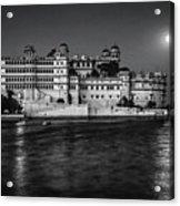 Moon Over Udaipur Bw Acrylic Print