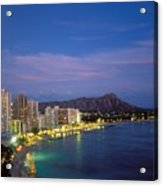 Moon Over Waikiki Acrylic Print by William Waterfall - Printscapes