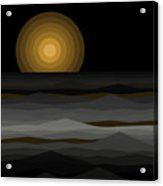 Moon Rise Abstract - Black And Gold Acrylic Print