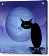 Mooncat's Loneliness Acrylic Print by Issabild -