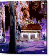 Moonlight Cabin Acrylic Print
