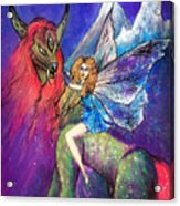 Moonlight Fairy And Her Horned Horse Acrylic Print