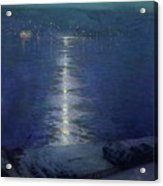 Moonlight On The River Acrylic Print by Lowell Birge Harrison