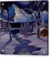 Moonlit Cabin Acrylic Print