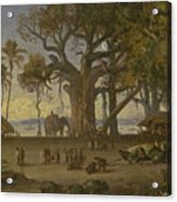 Moonlit Scene Of Indian Figures And Elephants Among Banyan Trees. Upper India Acrylic Print