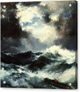 Moonlit Shipwreck At Sea Acrylic Print