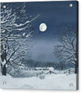 Moonlit Snowy Scene On The Farm Acrylic Print