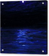 Moonlit Water Mini Oil Painting On Masonite Acrylic Print