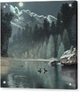 Moonlit Waters-loons Acrylic Print