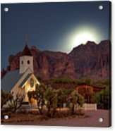 Moonrise At Superstition Mountain Acrylic Print