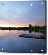 Moonrise At The Fishing Pond Acrylic Print