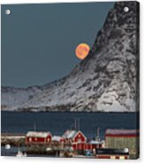 Moonrise In Reine Acrylic Print