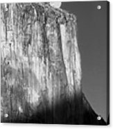 M-m6506-e-bw-moonrise Over El Capitan At Sunset  Acrylic Print