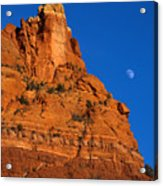 Moonrise Over Red Rock Acrylic Print by Mike  Dawson