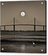 Moonrise Over Skyway Bridge Acrylic Print by Steven Sparks