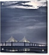 Moonrise Over Sunshine Skyway Bridge Acrylic Print by Steven Sparks