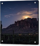 Moonrise Over The Superstitions Acrylic Print
